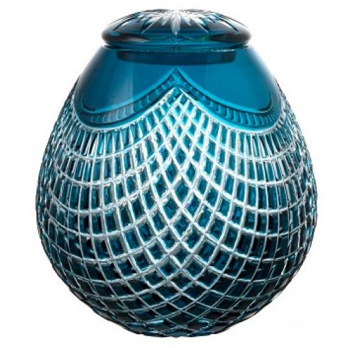 Crystal urn Quadrus, color azure, height 230 mm