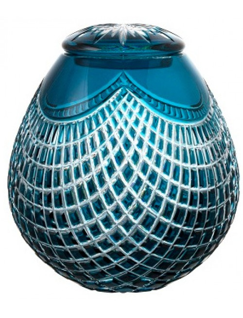 Crystal urn Quadrus, color azure, height 230 mm