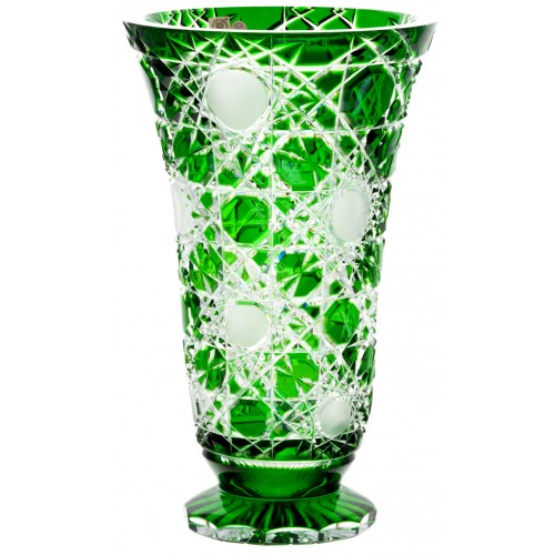 Crystal Vase Flake, color green, height 305 mm