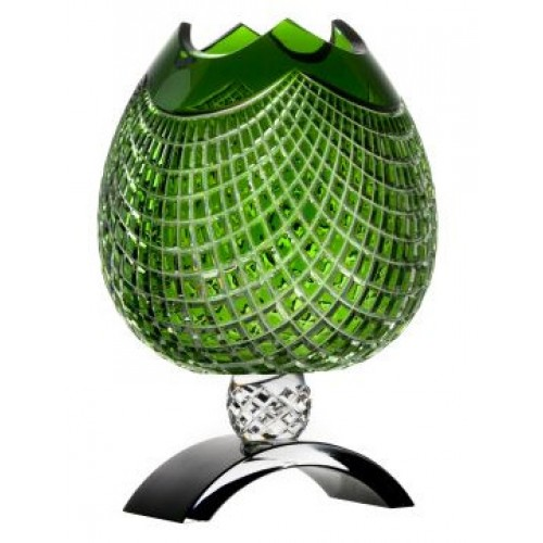 Crystal Vase Quadrus, color green, height 316 mm