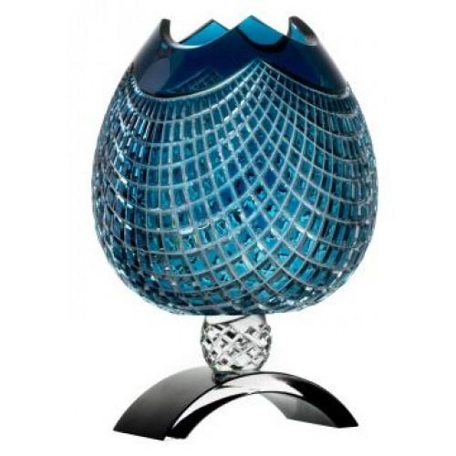 Crystal Vase Quadrus, color azure, height 316 mm