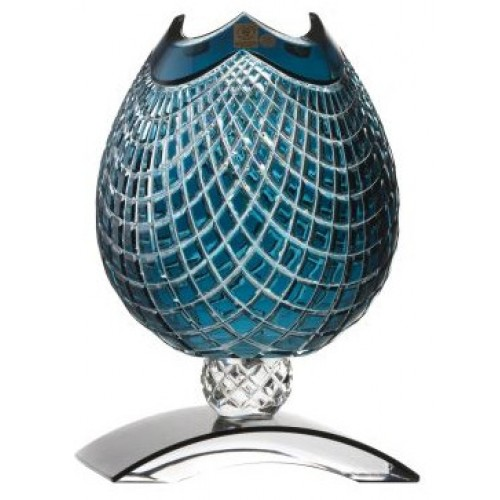 Crystal Vase Quadrus, color azure, height 181 mm