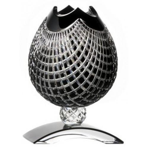 Crystal Vase Quadrus, color black, height 181 mm