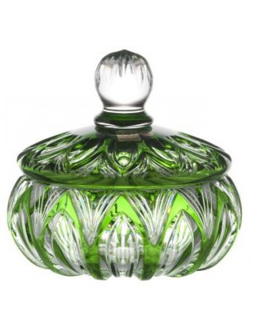 Crystal box Lotos, color green, height 165 mm
