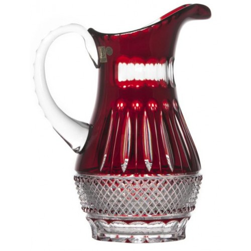 Crystal pitcher Tomy, color ruby, volume 1300 ml