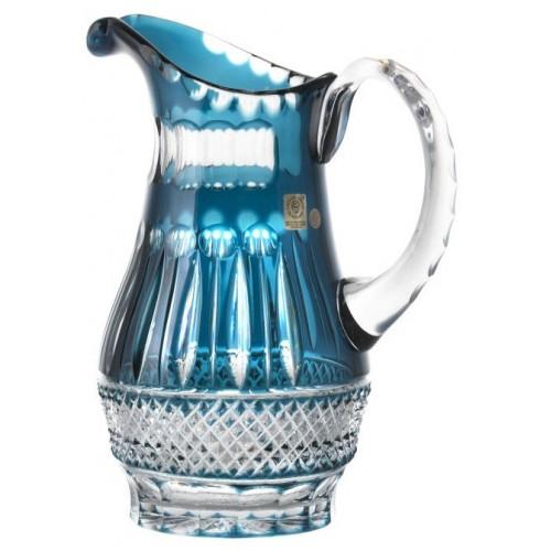 Crystal pitcher Tomy, color azure, volume 1300 ml
