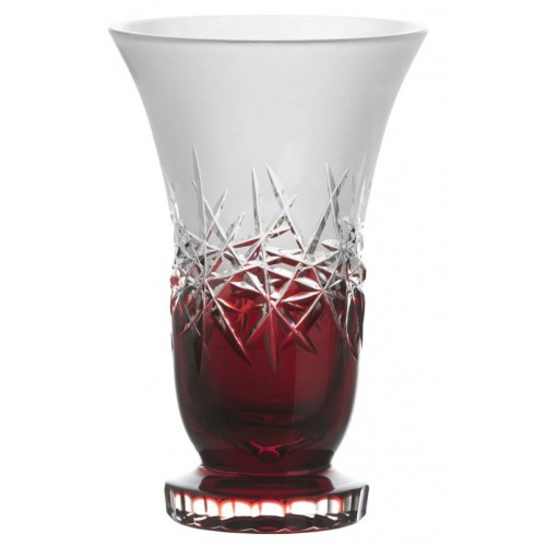 Crystal Vase Hoarfrost, color ruby, height 255 mm