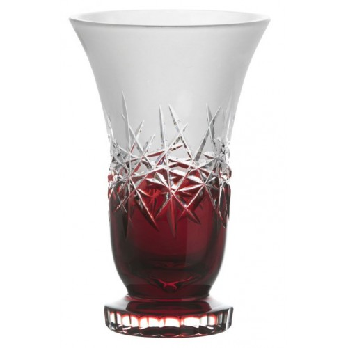 Crystal Vase Hoarfrost, color ruby, height 205 mm