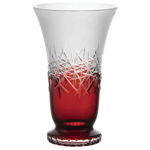 Crystal Vase Hoarfrost, color ruby, height 305 mm