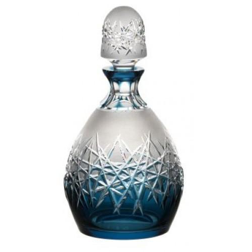 Crystal bottle Hoarfrost, color azure, volume 700 ml