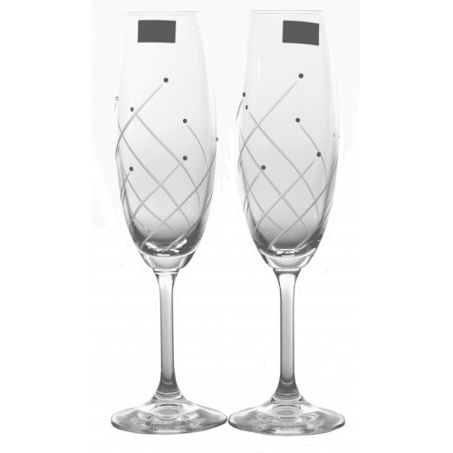 Crystal Set Crystal Wine Glass Clare 2x, crystal glass - unleaded, decorated, volume 220 ml