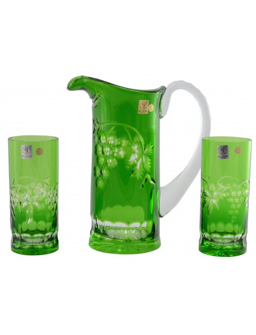 Crystal set Grapes, color green, volume 900 ml + 2x 350 ml