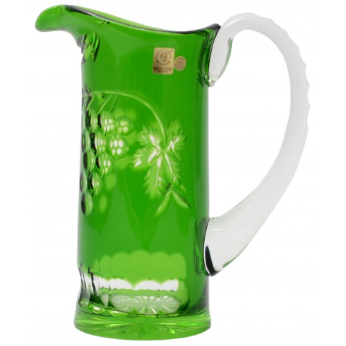 Crystal pitcher Grapes, color green, volume 900 ml