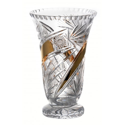 Crystal Vase Comet gold, color clear crystal, height 305 mm